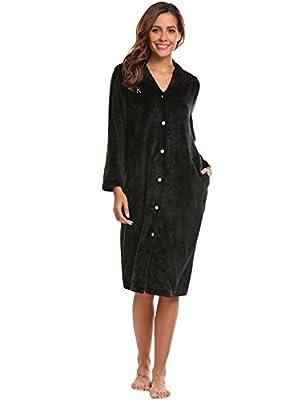 Asatr Women's Robes Button Hooded Soft Fleece Long Sleeping Bathrobes Loungewear