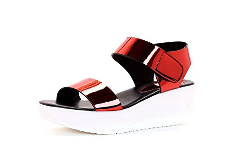 AgooLar Women's Hook-and-loop Open Toe Kitten-Heels Microfiber Solid Sandals Red
