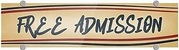 24x6 5-Pack CGSignLab Free Admission Nostalgia Stripes Premium Brushed Aluminum Sign