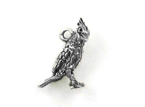 Sterling Silver 3-D Cardinal Charm - Jewelry Accessories Key Chain Bracelet Necklace Pendants