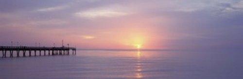 Posterazzi PPI55371L Pier in the ocean at sunset Caspersen Beach Sarasota County Venice Florida USA Poster Print 36 x 12