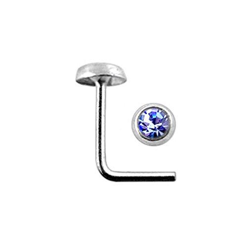 Lavender Bezel Set Gemstone Top 22 Gauge Silver L Bend Nose Stud Piercing Jewelry Lavender Stone Set