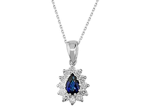 Pendentif Saphir et Diamants-Femme- or Blanc 215P0047