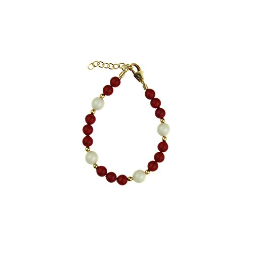 Crystal Dream Luxury Red and White Swarovski Simulated Pearls with 14KT Gold-filled Mini Beads Keepsake Toddler Girl Bracelet - Childrens Gold 14kt Bracelet Pearl