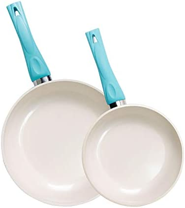 Frying Omelette Pan with Ceramic Non-Stick Coating and Soft Grip Skillet 2, 8 10