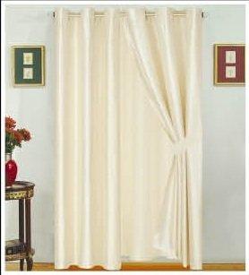 Modern Beige Faux Silk Satin Windows Curtains Drapes Panels Set 120x63quotwxh