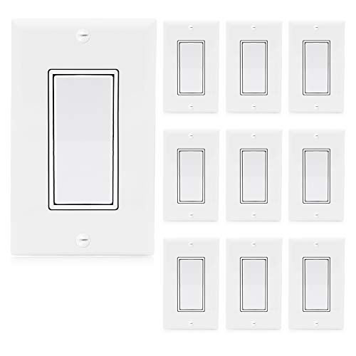 Maxxima 3 Way Decorative Wall Switch On/Off White 15A, Soft Touch Rocker Light Switch Wall Plates Included (10 Pack)