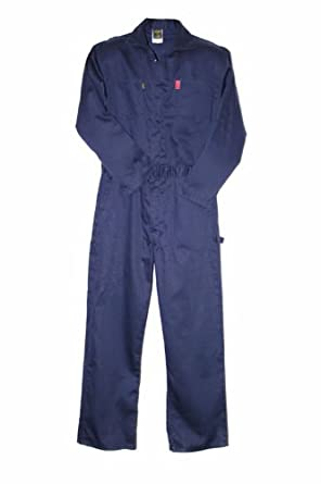 LAPCO CVIN9NY-XL-LONG Heavy Duty Flame Resistant Contractor Coverall, Navy, X-Large, Tall