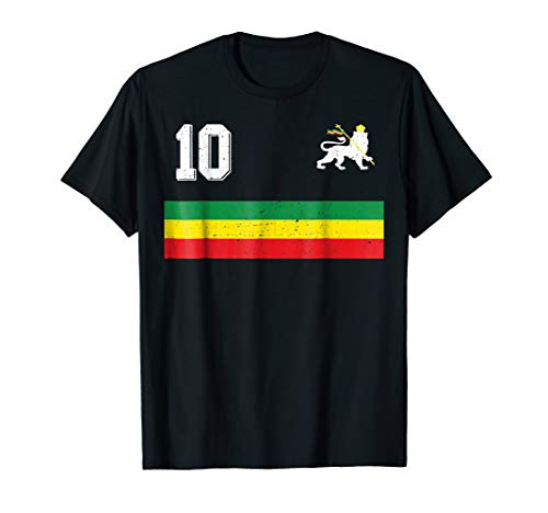 Retro Ethiopia Football Jersey Rastafari Soccer T-Shirt 10