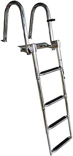 WYZXR Escalera de Cubierta de Barco de pontón de Acero Inoxidable Premium de 4 Pasos, Escalera de Acoplamiento telescópica Plegable para Piscina de Muelle de Yates, Capacidad de 550 LB: Amazon.es: Hogar