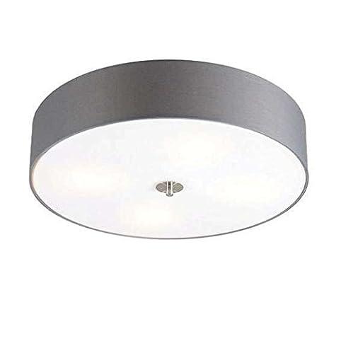 QAZQA Modern Deckenleuchte Deckenlampe Lampe Leuchte Drum Mit Schirm 50 Rund Grau