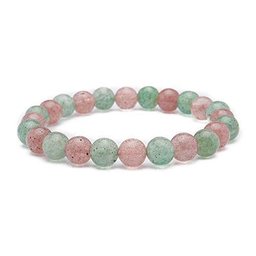 (Bivei Natural Amazonite Malachite Kyanite Aquamarine Gem Semi Precious Gemstone Round Beads Crystal Stretch Bracelet(Pink&Green Strawberry Quartz))