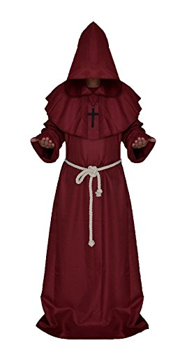 Honeyveil Medieval Monk Priest Robe Tunic Hooded Halloween Cosplay (High Priest Costume For Sale)