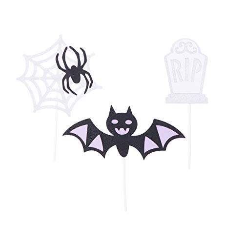 Amosfun Halloween Glitter Cake Topper Picks Glitter Bat Spider Web Tombstone Cupcake Toppers Halloween Birthday Cake Decortaions Party Favors 3PCS