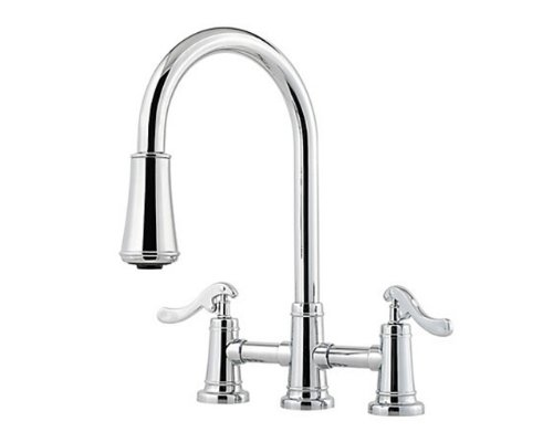 Pfister GT531-YPC Ashfield Two Handle Pull-Down Kitchen Faucet, Polished - Hole Pull 3 Ashfield