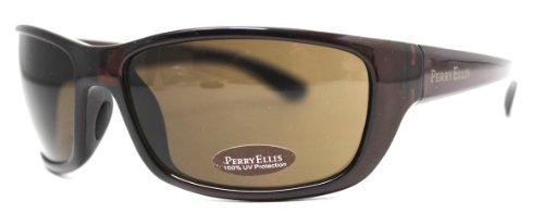 (Perry Ellis Sunglasses Crystal Brown Plastic Wrap, Brown Lens PE05)
