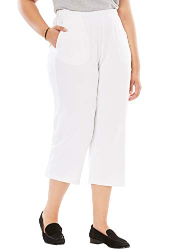 Woman Within Women's Plus Size 7-Day Knit Capri - White, 1X