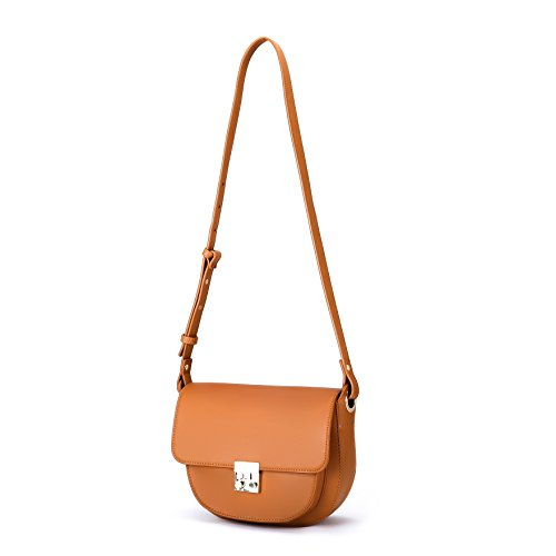ECOSUSI Women Crossbody Saddle Bags Shoulder Purse with Flap Top & Phone Pocket, Brown by ECOSUSI (Image #9)