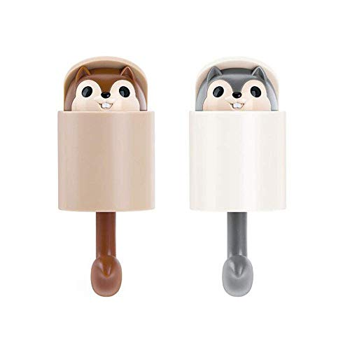 Creative Squirrel Coat Hooks + Cartoon Adhesive Wall Hooks + Cute Hanger Hooks for Hanging Kitchen Bathroom Bedroom Stick on Wall (2-Pack)