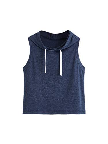 SweatyRocks Women's Summer Sleeveless Hooded Crop Tank Top T-shirt Deep Blue XL ()