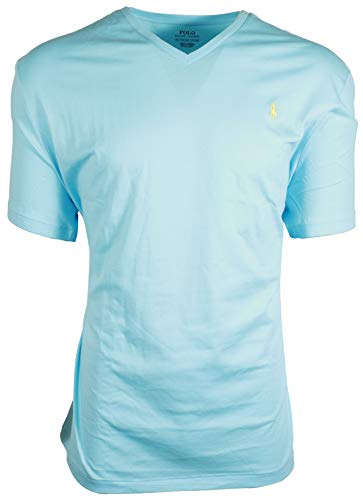 Polo Ralph Lauren Men's Classic Fit V-Neck T-Shirt Cotton (Small, Blue (Yellow Pony))