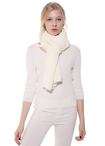Anboor Luxurious Thick Knitted Scarf with Solid Color Super Warm Shawl for Women, White (White Scarf Wool)