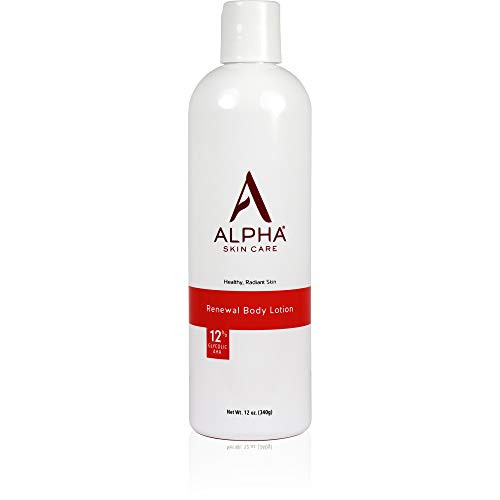 Alpha Skin Care Renewal Body Lotion | Anti-Aging Formula |12% Glycolic Alpha Hydroxy Acid (AHA) | Reduces the Appearance of Lines & Wrinkles | For All Skin Types | 12 Oz from Alpha Skin Care