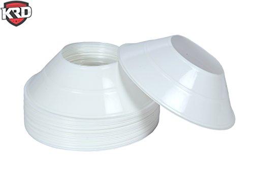KRD 25 Pack Mini Disc Cones White for Soccer Drills ,Agility Training, Football, Kids, Field Marker