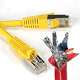 InstallerParts 0.5 Ft CAT 6 Shielded (SSTP) Patch Cable Molded Yellow -- Professional Series -- 50 Micron Gold Plated RJ45 Connectors -- Ethernet Data Network