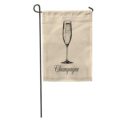(Andrea Back Garden Flag Champagne Glass Sketch of Spumante Alcoholic Drink White Sparkling Wine Home Yard House Decor Barnner Outdoor Stand 12x18 Inches Flag)