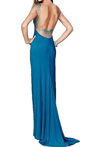 ivyd ressing Mujer de gran calidad corta aermel rueckenfrei funda de línea piedras fiesta vestido Prom vestido fijo para vestido de noche Azul