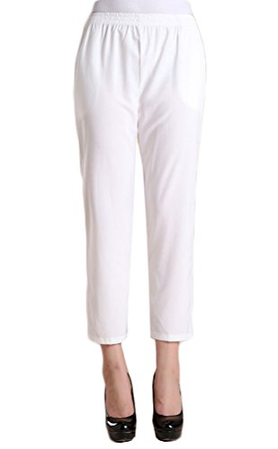 Soojun Womens Casual Lightweight Pull On Cropped Pants