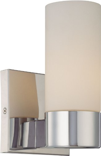 [Minka Lavery 6211-77, Wall Sconces Reversible Glass Wall Sconce Lighting, 1 Light, 60 Watts, Chrome] (Single Bath Sconce)