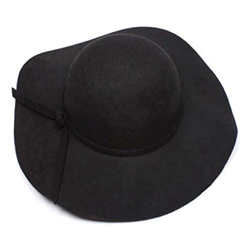 (Onlineb2c Vintage Women Ladies Floppy Wide Brim Wool Felt Fedora Cloche Hat Cap )