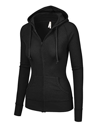 (OLLIE ARNES Women's Thermal Long Hoodie Zip Up Jacket Sweater Tops Thermal_Black XL)