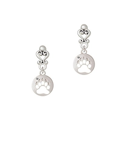 Bear Paw Silhouette - Filigree Heart Earrings