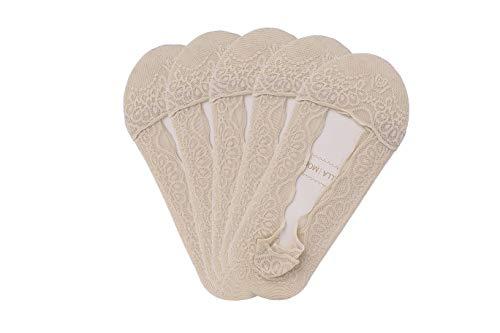 - Bella Moda Women's Lace Casual No Show Non-skid Boat Socks Set of 5 (Beige Style 2)