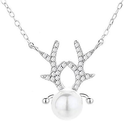 Collar de cuernos de mujer con colgante de perla de ciervo, plata de ley 925, regalo de Navidad