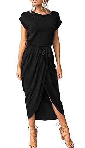 ECHOINE Women Solid Office Work Wrap Maxi Dress Short Sleeve with Belt Black S ()