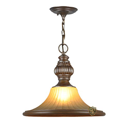 Metcandy American Retro Chandelier Frosted Glass Shade Resin Engraving Lamp Body Restaurant Bar Counter Kitchen Iron Antique Ceiling Light E27