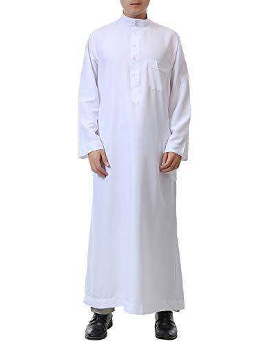 BESBOMIG Arab Muslim Wear Kaftan Robes Suit One-Piece Thobe Arabic Dress Casual Robe White