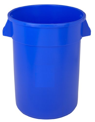 Continental 3200BL 32-Gallon Huskee LLDPE Waste Receptacle, Round, Blue