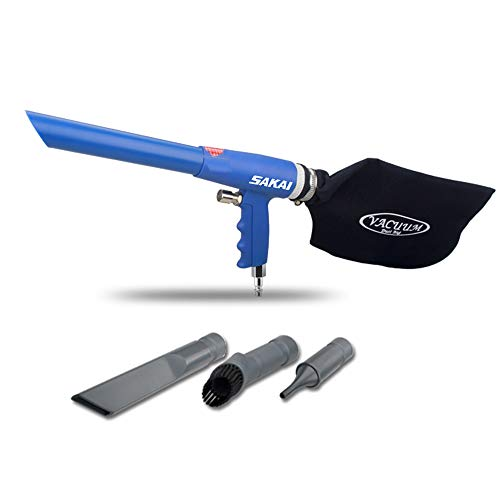 SAKAI Air Powered Vacuum kit 2 in 1 Function Air Vacuum Blow Gun and Suction Vacuum pneumatic Vacuum cleaner Kit with 3 type tube and rotatable Brush