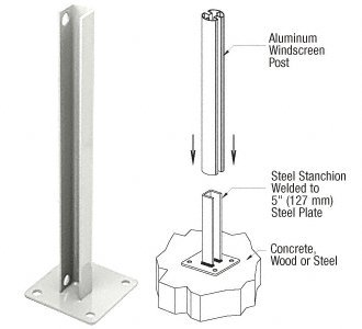 180 Degree Center Post (Sky White AWS Steel Stanchion for 180 Degree Round or Rectangular Center or End Posts)