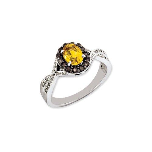 Oval Citrine, Smoky Quartz, .09 Ctw (H-I Color, I2-I3 Clarity) Diamond Sterling Silver Ring Sz (Faceted Oval Smoky Quartz Ring)