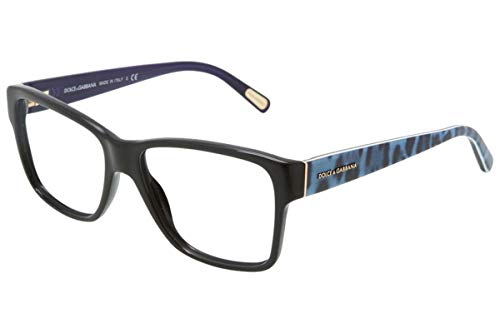 (Dolce & Gabbana DG3126-2504 Eyeglasses, Black Blue Leo Frame 52mm w/Clear Demo Lens)