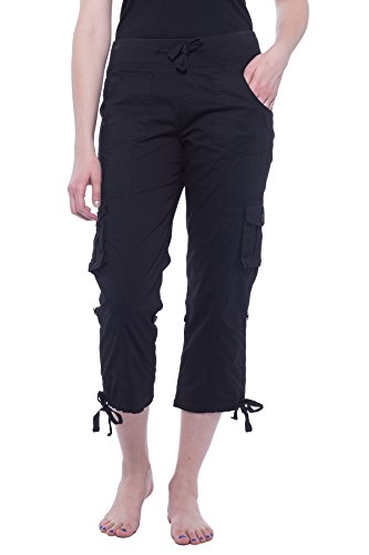 Alki'i Women's Elastic Waist Drawstring Cargo Capri with Adjustable Length 2141 Black M ()