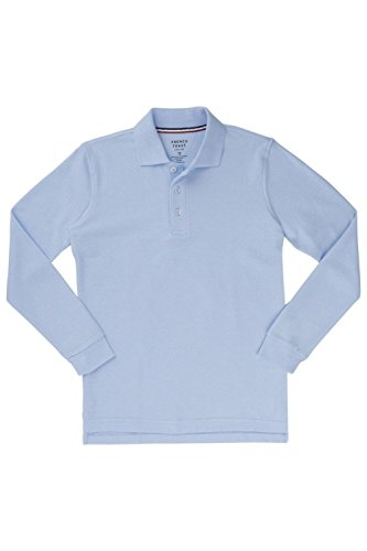 [French Toast Long Sleeve Pique Polo Boys Blue 5] (French Toast Long Sleeve Polo Shirt)