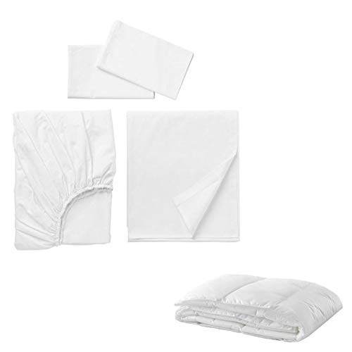 IKEA Dvala Sheet Set and Comforter Bundle - Includes Dvala Queen Size 1 Fitted Sheet, 1 Flat Sheet, Two Pillowcases and Queen Size Cooler Comforter (White Color) (Dvala Sheet Set Queen)