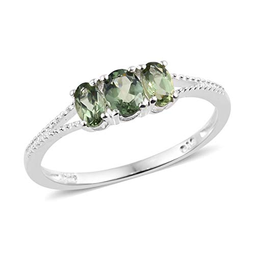 925 Sterling Silver Oval Green Apatite Statement Ring for Women Jewelry Size 8 Cttw 0.7 ()